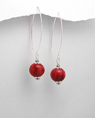 515-233 - Sterling silver earrings beaded with sponge coral beads.