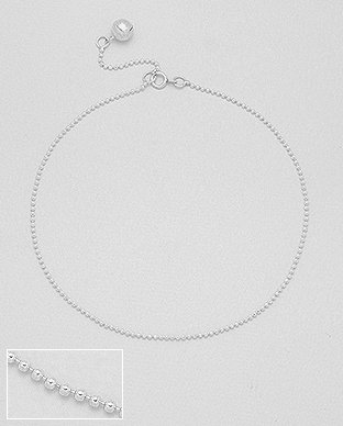 90-228 - Adjustable plain sterling silver anklet decorated with small silver bell.